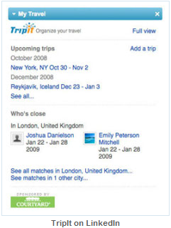 TripIt LinkedIn Profile Screen