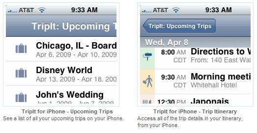 TripIt iPhone Screens
