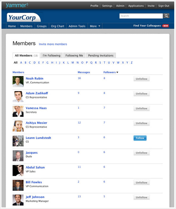 Yammer Company Directory