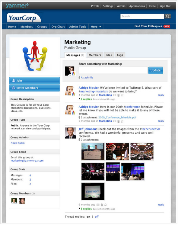 yammer Groups Screen