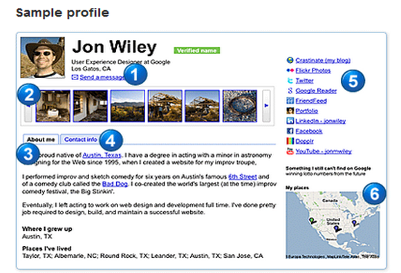 Google Profile screenshot