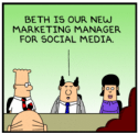 Dilbert social media manager graphic