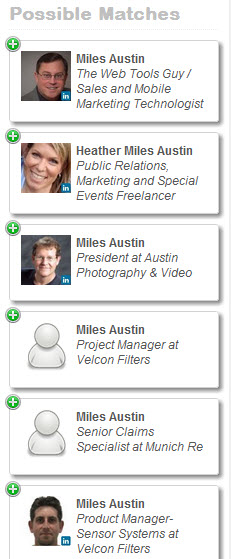 LookAcross LinkedIn selections