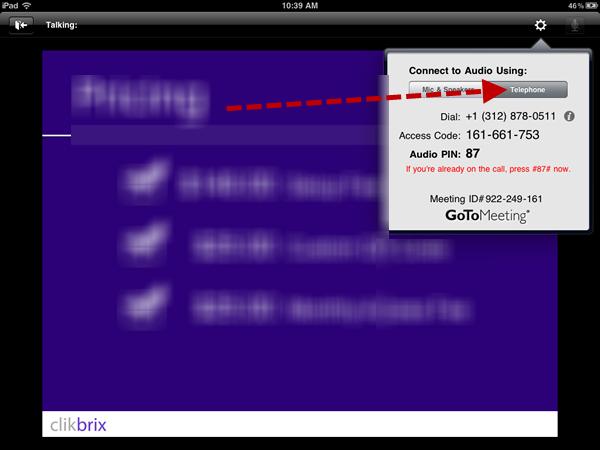 GoToWebinar screen