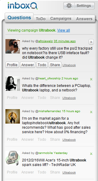 InboxQ screenshot of Ultrabook Campaign