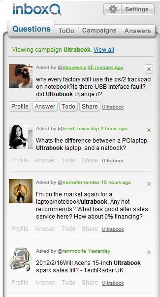 InboxQ screenshot of Ultrabook Campaign