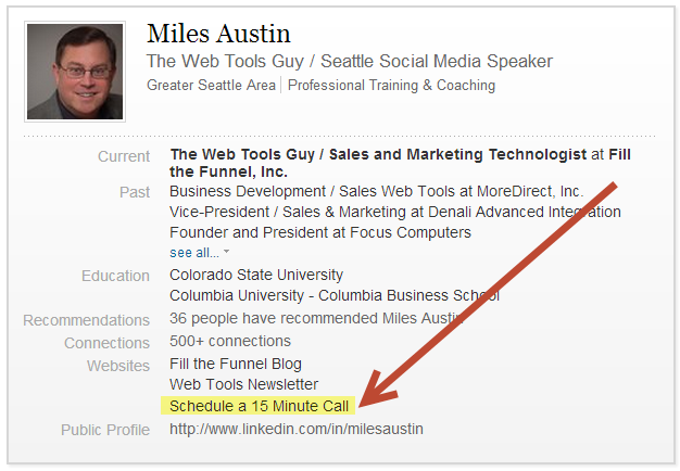 LinkedIn Profile showing Timetrade Link