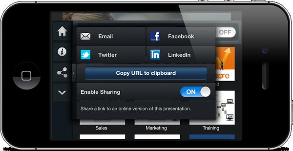 SlideShark iPhone share content screen