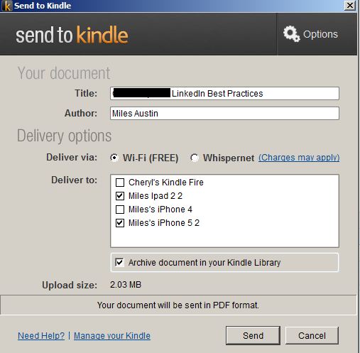 Send to Kindle Option Screen