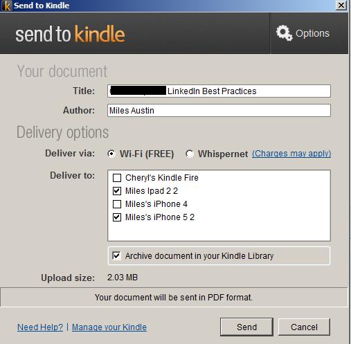 Send to Kindle Option Screen
