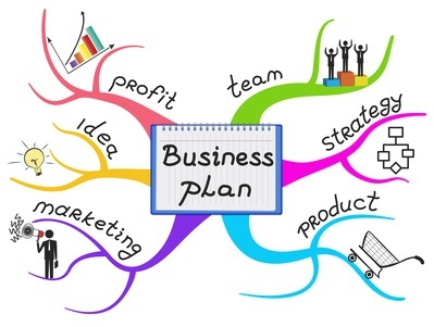 Business plan steps are on the branches colorful mind map.